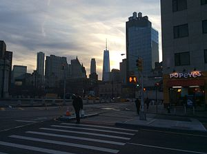 Chrystie Street - Intersection with Canal Street at sunset