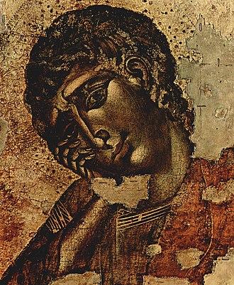 Crucifix (Cimabue, Santa Croce) - John the Evangelist
