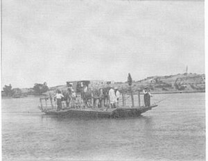 Neuquén-Cipolletti bridges - Ferry crossing the river in 1910