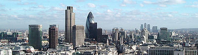 A view of the City of London and Canary Wharf. London, UK is the largest financial centre in Europe, it handled 31% of global currency transactions in 2005 � an average daily turnover of US$753 billion � with more US dollars traded in London than New York City, and more Euros traded than in every other city in Europe combined.[citation needed]