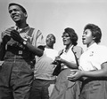 Civil Rights March on Washington, D.C. (Four young marchers singing.) - NARA - 542025.tif