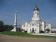 Claiborne County Courthouse and Confederate monument, Port Gibson, Mississippi 2008.jpg