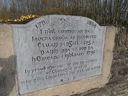 Memorial to deceased rebels in Clonegal Clonegal 1798 monument.jpg