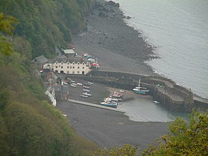 Clovelly Lifeboat Station - Clovelly Harbour from the north showing slipway into the harbour