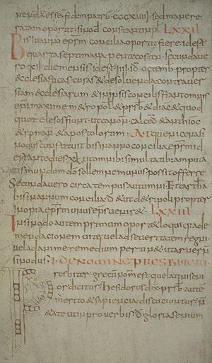 Collectio canonum Hibernensis - Folio 15v of eighth-century manuscript 210 of the library at Cologne Cathedral, showing the first chapter of the second book titled De nomine presbiteri at the initial P