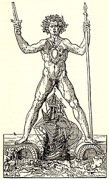 Engraving showing an imagined Colossus of Rhodes, standing astride the harbour with a galleon passing between its legs