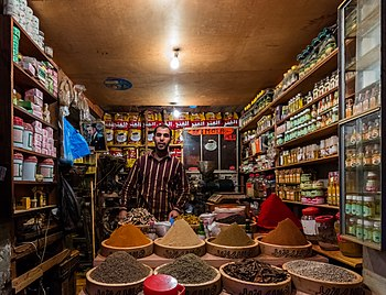 Spices and food store in the April 9th 1947 Square, better known as Grand Socco, Tangier, Morocco.