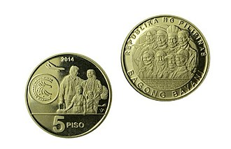 Philippine five peso coin - The Bagong Bayani 5-peso circulating commemorative coin in honor of Overseas Filipinos.