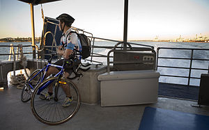 Commuter with bike in the Great Barrier Island Car ferry, Auckland - 0339.jpg