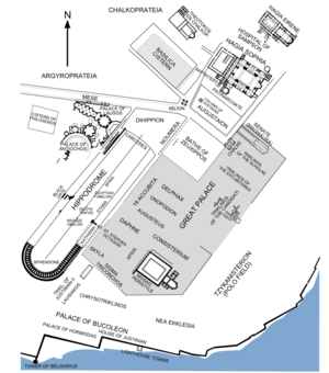 Great Palace of Constantinople - Map of the administrative heart of Constantinople. The structures of the Great Palace are shown in their approximate position as derived from literary sources. Surviving structures are in black.