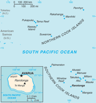 Avarua - Image: Cook Islands (New Zealand) map