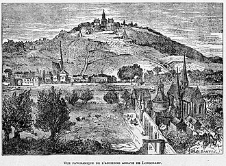 Abbey of Longchamp - Ruins of the Abbey of  Longchamp (engraving by Edmond Morin c.  1856)
