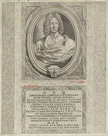 Frontispiz von Corellis op.6, das der Gedenktafel an Corellis Grabmal im Pantheon nachempfunden ist (Quelle: Wikimedia)