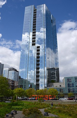 Cosmopolitan on the Park - Viewed from the south, across Tanner Springs Park, in 2017