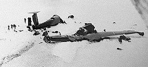 1946 Antarctica PBM Mariner crash - Image: Crashed U.S. Navy PBM 5 Mariner on Thurston Island, 11 January 1947