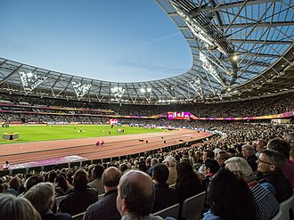2017 World Championships in Athletics - The London Stadium during the Championships. Big crowds were a constant, with all evening sessions being sell-outs