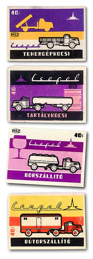Csepel (automobile) - Different Csepel lorries on contemporary matchboxes, in the 1960s