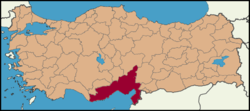 Location of Çukurova within Turkey
