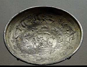 Idalium - Idalion, Cup with mythological scenes, a sphinx frieze and the representation of a king vanquishing his enemies. Electrum, Cypro-Archaic I (8th–7th centuries BC). Louvre Museum