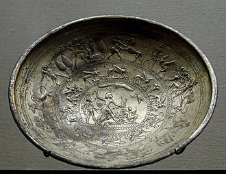 Electrum - Cup with mythological scenes, a sphinx frieze and the representation of a king vanquishing his enemies. Electrum, Cypro-Archaic I (8th–7th centuries BCE). From Idalion, Cyprus.