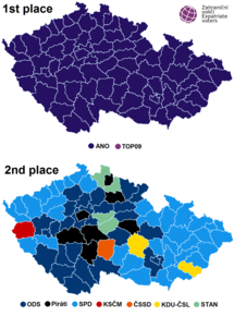 Czech parliament elections districts winner and runner-up map 2017.png