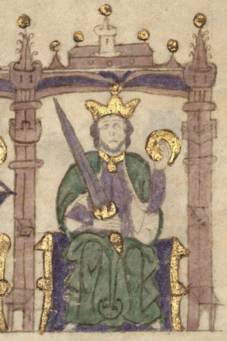 Afonso II of Portugal - King Afonso in the Castilian manuscript Compendium of Chronicles of Kings (...) (c. 1312-1325)