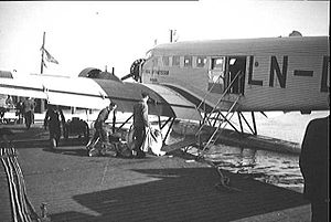 Norwegian Air Lines - Loading of a Junkers Ju-52 at Gressholmen Airport in 1936