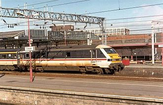 Driving Van Trailer - Mark 3 DVT in InterCity livery pauses at Crewe in 1989 with a London bound train