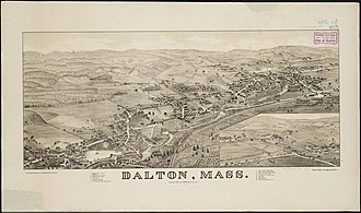 Dalton, Massachusetts - Lithograph of Dalton from 1884 by L.R. Burleigh with list of landmarks