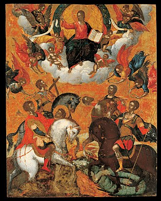 Military saint - Four Military Saints by Michael Damaskinos (16th century, Benaki Museum), showing St George and St Theodore Teron on the left, and St Demetrios and St Theodore Stratelates on the right, all on horseback, with angels holding wreaths over their heads, beneath Christ Pantokrator.