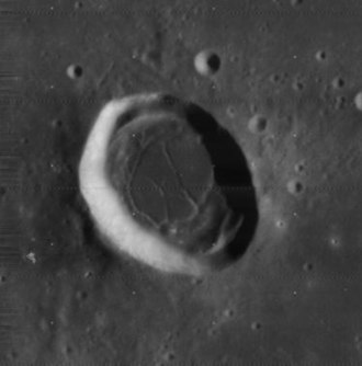 Daniell (crater) - Lunar Orbiter 4 image of Daniell (note different lighting than above)