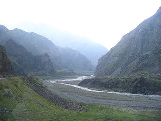 Darial Gorge - Looking north along the gorge (8km south of the Russian checkpoint in North Ossetia–Alania).