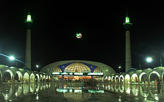 Data Darbar - The shrine's mosque was rebuilt in the 1980s utilizing a modernist architectural style.