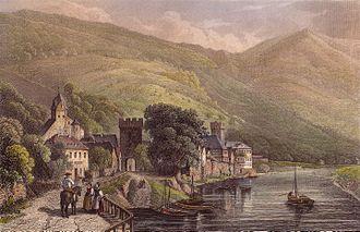 """Dausenau - Colored steel engraving: """"View from Dausenau"""", around 1844."""