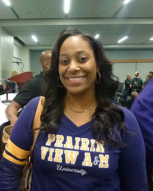 Prairie View A&M Panthers and Lady Panthers - Dawn Brown, head coach of the Prairie View women's basketball team, speaking at a WBCA conference in Nashville, Tennessee