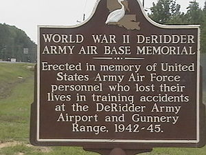 Louisiana Maneuvers - A roadside memorial stands on the Beauregard Regional Airport, founded as DeRidder Army Airbase.