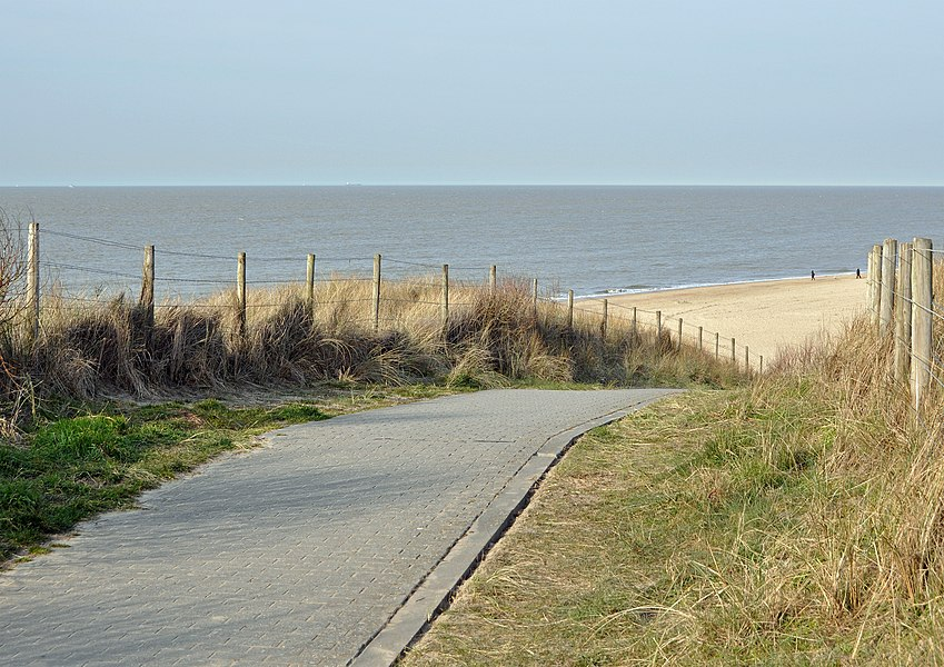 De Haan (Belgium), path on the dunes; view on the beach and the North Sea