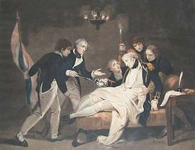 Death of Captain Alexander Hood par Henry Singleton