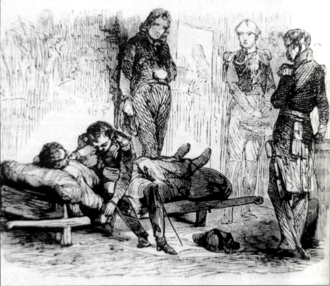 Géraud Duroc - Napoleon weeps for Duroc, wounded. Engraving by Horace Vernet.