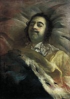 Deathbed portrait of Peter I by I.Nikitin (1725, Russian museum)