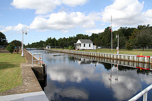 Dismal Swamp Canal - Deep Creek Lock, located in Deep Creek, Virginia, separates the salt water of Deep Creek from the fresh water of Dismal Swamp Canal