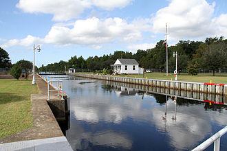 Dismal Swamp Canal - Deep Creek Lock, located in Deep Creek, Virginia, separates the salt water of Deep Creek from the fresh water of Dismal Swamp Canal