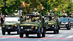 Polish Special Forces - Wojska Specjalne MB G Klasse during the Polish Army Day parade in 2014.