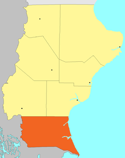 Location of Güer Aike Department in Santa Cruz Province.