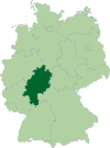 Map of Germany: Position of Hessen highlighted