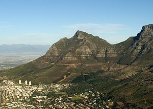 Devil's Peak (Cape Town) - Devil's Peak seen from Lion's Head. Hottentots Holland range in the distance