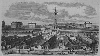 Caledonian Road, London - The Metropolitan Cattle Market as seen in 1855