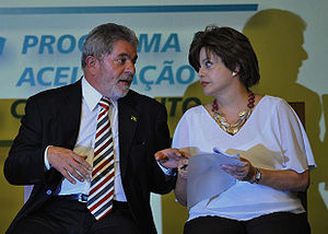 Lula and Dilma during an event of the PAC.