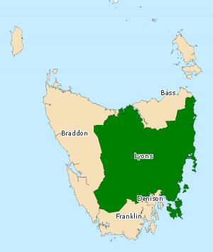 Division of Lyons - Division of Lyons in Tasmania, as of the 2016 federal election.
