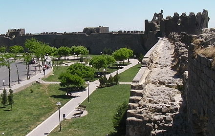 Diyarbakir's city walls, built by Constantius II and extended by Valentinian I between 367 and 375, stretch almost unbroken for about 6 kilometres. Diyarbakir walls.JPG